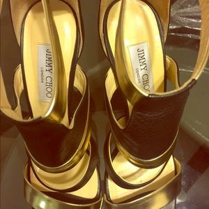 Gently used Jimmy Choo Black/Gold Leather sandals